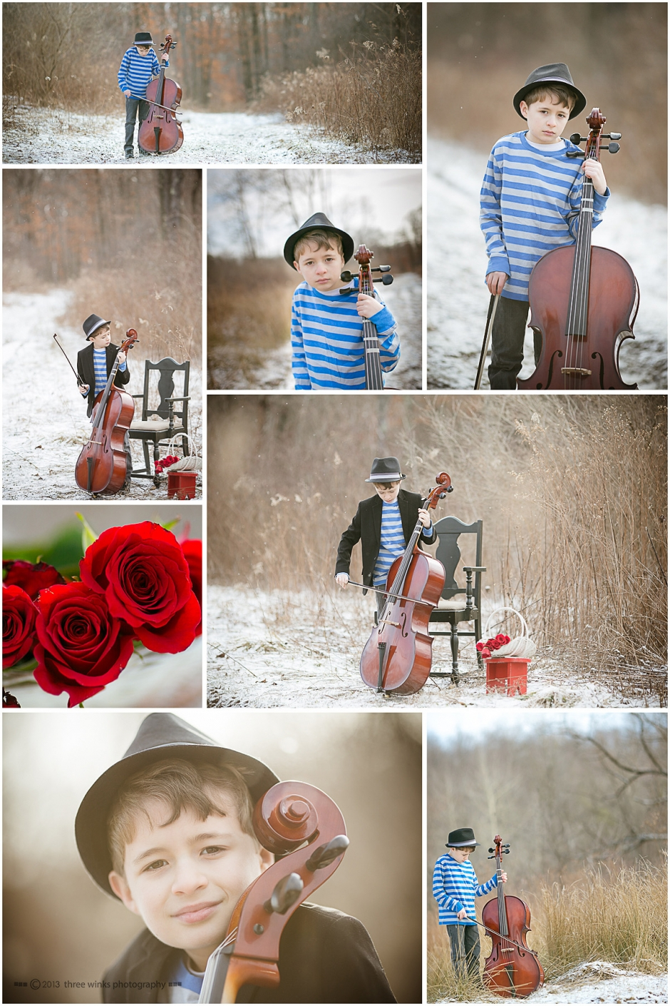 boy with cello in field